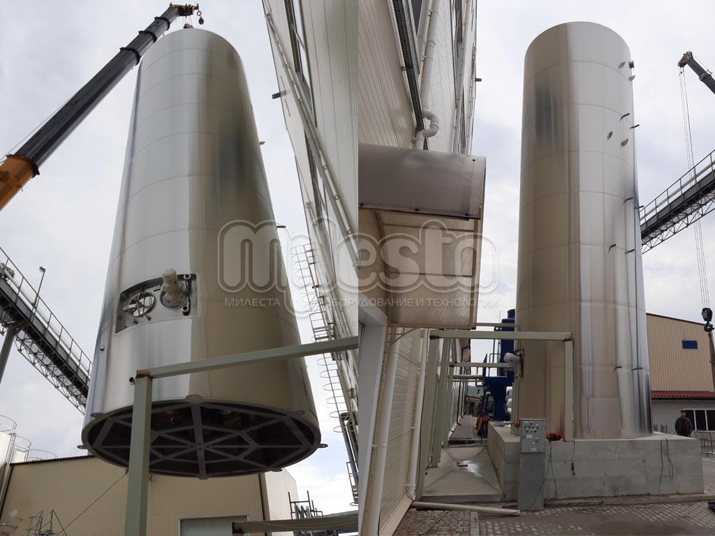Емкость вертикальная с боковой мешалкой для молока, 100м3
