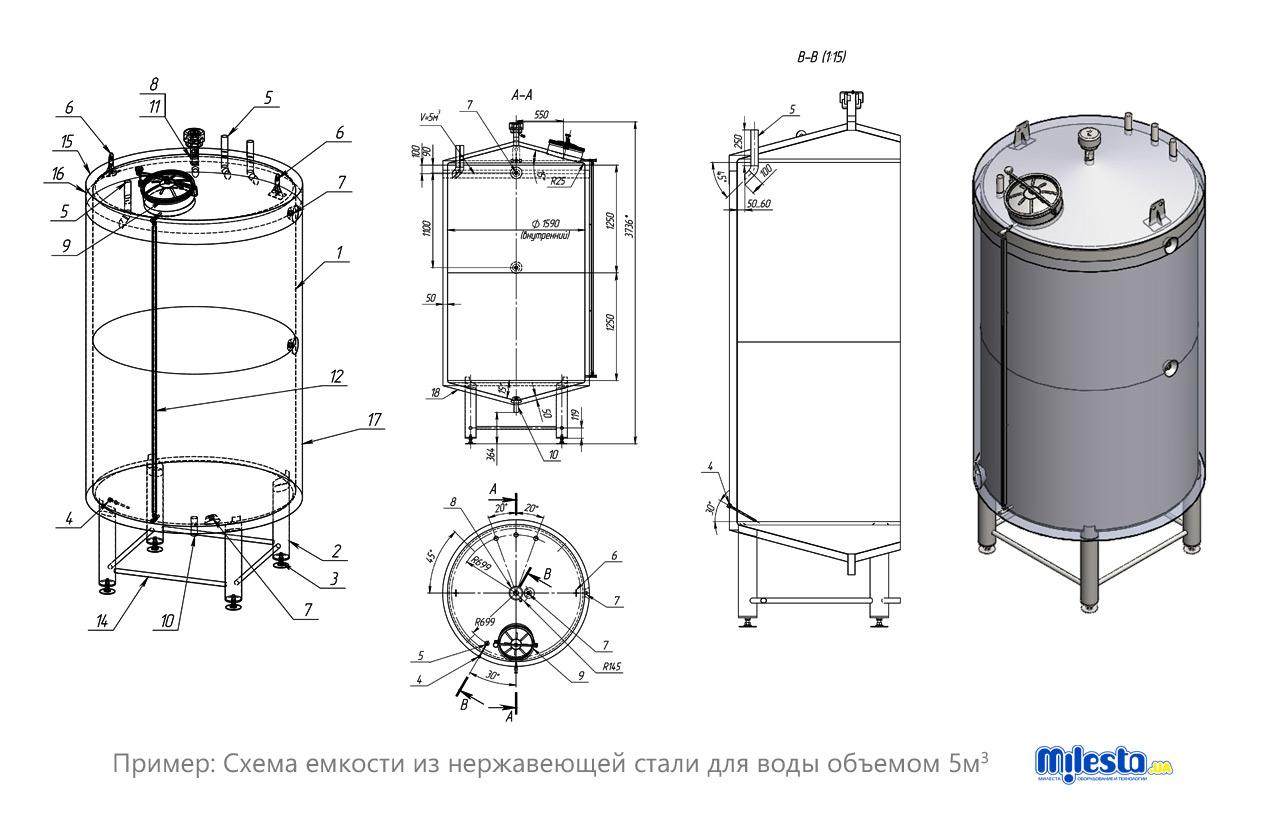 Схема емкость для воды